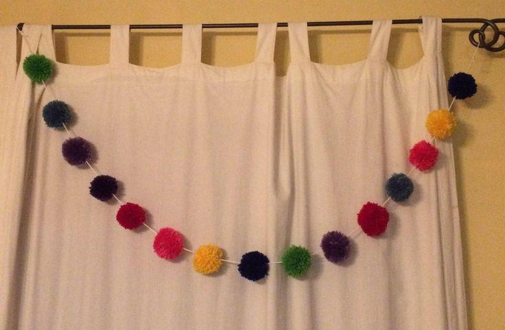 A personal favorite from my Etsy shop https://www.etsy.com/ca/listing/515419371/pompom-garland-rainbow-yarn-pom-pom