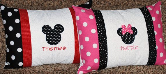 Girls or boys personalized Minnie or mickey Mouse pillowcase Disney travel pillow case autograph pillow