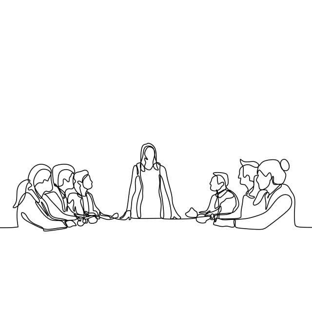 رسم خط واحد مستمر من فريق الشباب كعامل الحديث و المناقشة في اجتماع النساء كزعيم يلقي كلمة شخص اشخاص لقاء Png والمتجهات للتحميل مجانا Continuous Line Drawing Line Drawing Line Art
