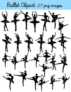 Ballet Silhouette Digital Clipart , INSTANT DOWNLOAD Silhouette, Clipart Ballerina, Ballerina, Personal and Commercial Use 27 images