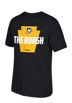 Reebok Pitt Penguins Mens Black The Burgh Tee