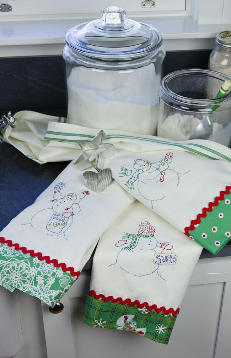 Snowmen dishtowels patterns from Crabapple Hill Studio!