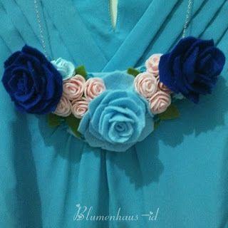 Aksesoris Wanita Online Madiun, 081.329.115544: Kalung Simpel Elegan Bunga Mawar Biru, Aksesoris W...