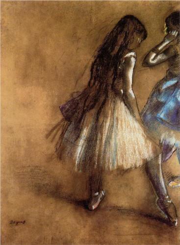 Two Dancers : Edgar Degas in oil pastels.