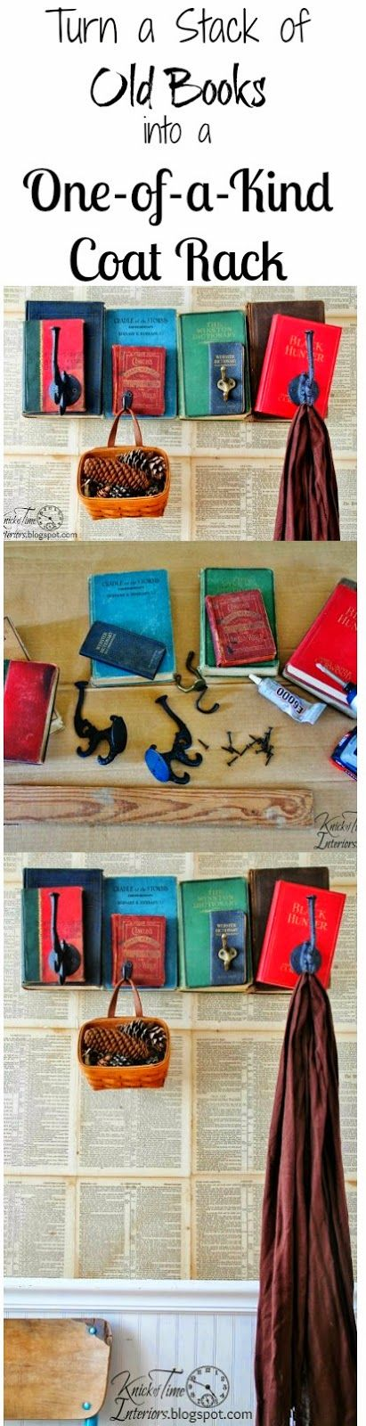 Old Books into Unique Coat Rack! ~Full tutorial at Knick of Time~ http://knickoftimeinteriors.blogspot.com