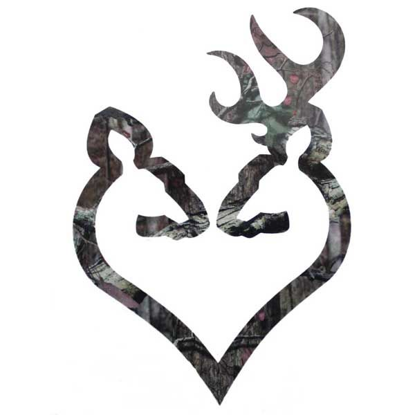 "Browning Buck and Doe Heart Decal 6"" Camo"