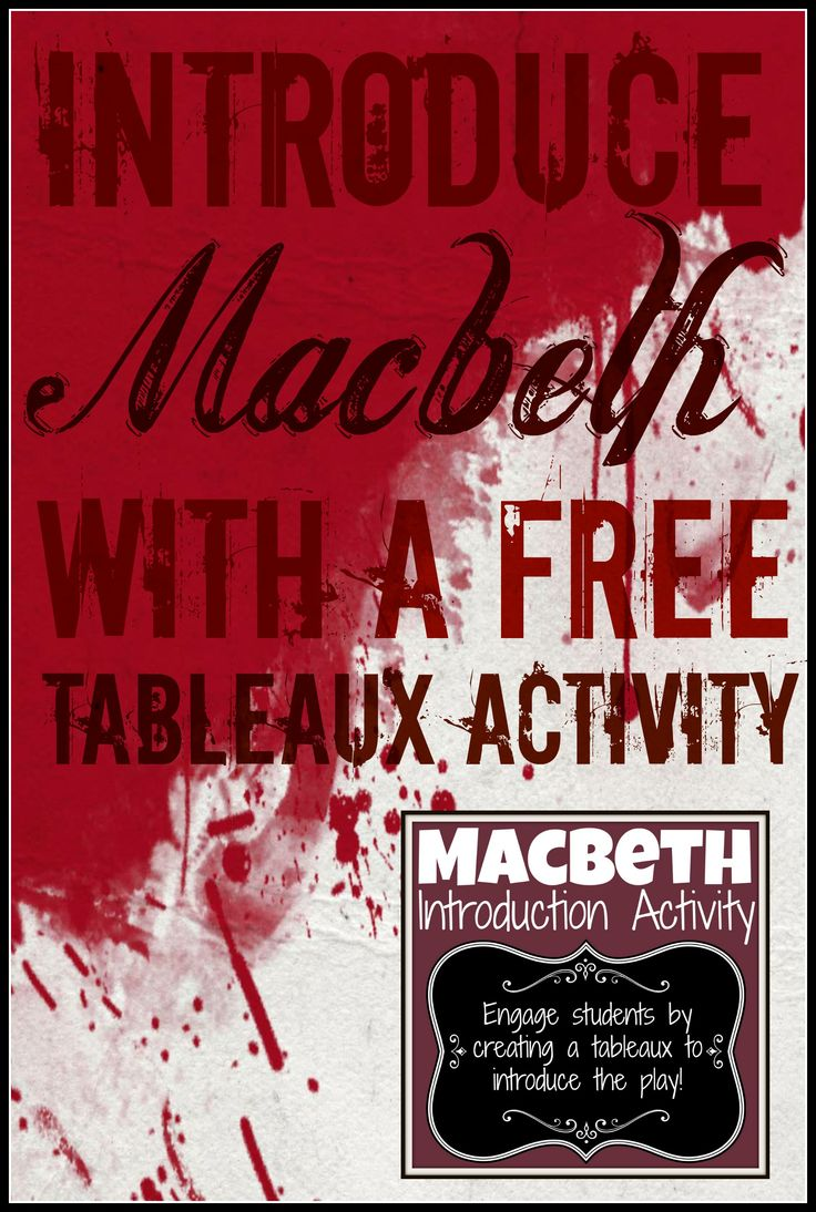 Macbeth FREE Introduction with a Tableaux Exercise