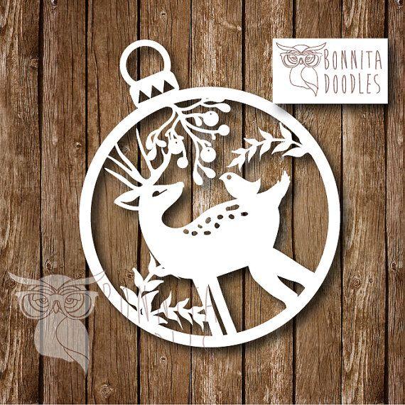 Deer christmas Personal paper cut template by BonnitaDoodles