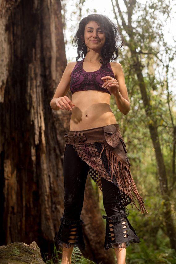Patchwork Pocket Skirt Brown Sexy Fairy Hippie Boho