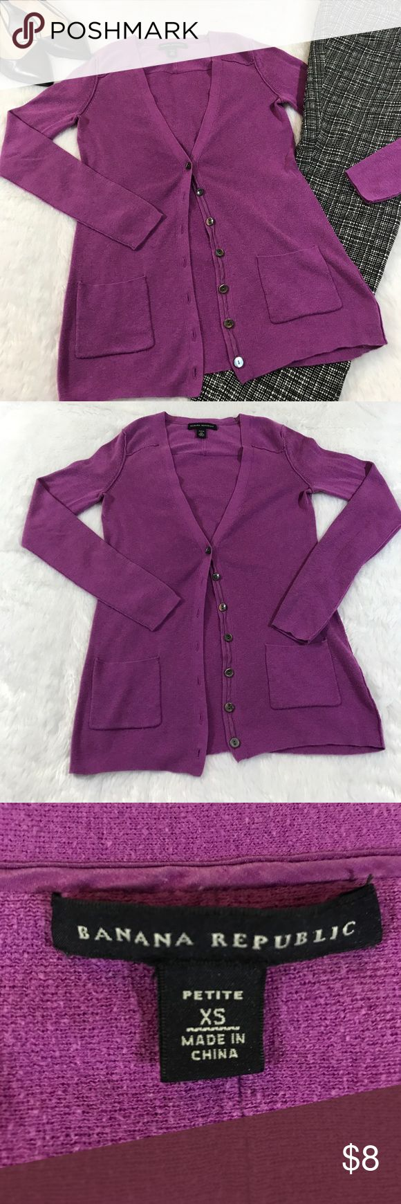 """🎃CCO🎃Banana Republic XS Petite cardigan Beautiful purplish pink colored v-neck cardigan. It has 6 shell buttons, and two pockets at the waist. Measurements flat are approximately: chest: 14.5"""" Length: 23"""" low price due to wear, but there is still life left. (B) Banana Republic Sweaters Cardigans"""