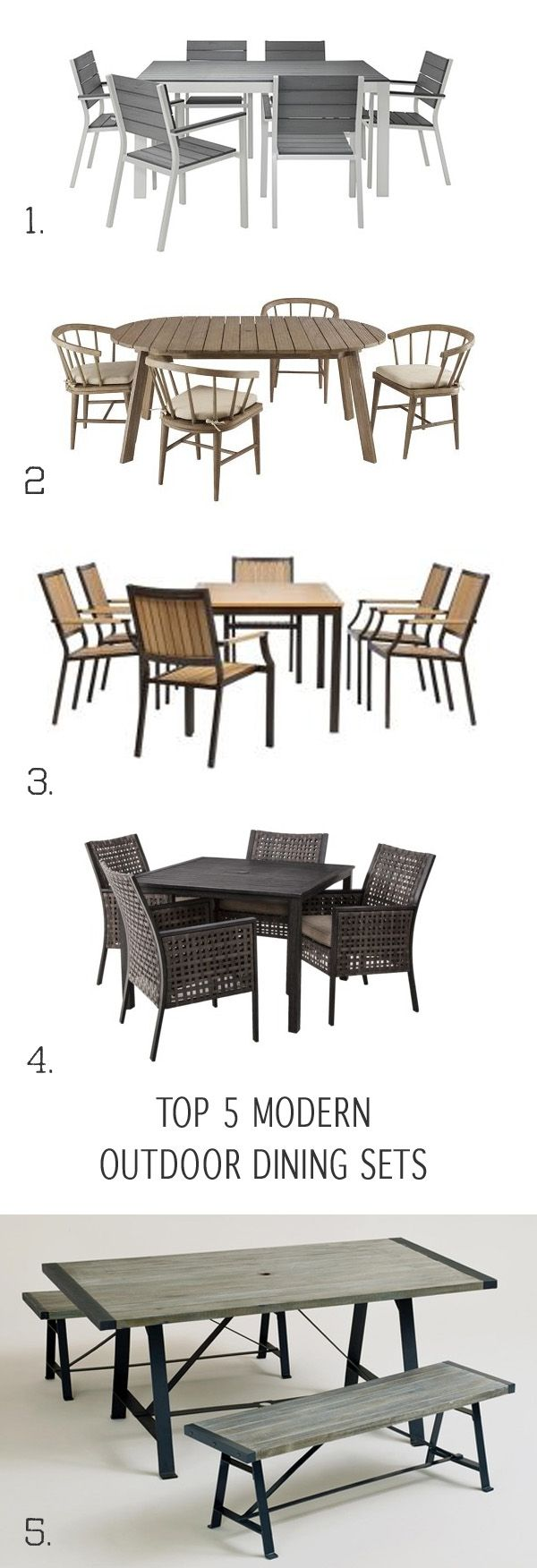 Top 5 Modern Outdoor Dining Sets that wont break the bank.