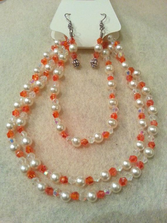 Elegant Set  Orange Swarovski Crystal and by FrantasticCreationz, $20.00
