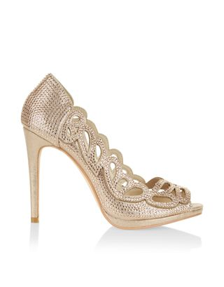 Exude Glamour With Our Violet Laser Cut Peep Toe Shoes Ornamented Sparkling