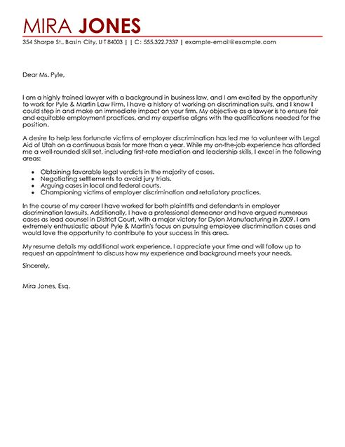 big lawyer cover letter example
