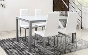 227€ Set de comedor formado por mesa + 4 sillas. Incluye una bonita mesa con estructura metálica y cristal blanco y un set de 4 sillas con estructura metálica y tapizado en polipiel de color blanco. #mesa #silla #polipiel #blanco  Deskontalia Productos - Descuentos del 70%