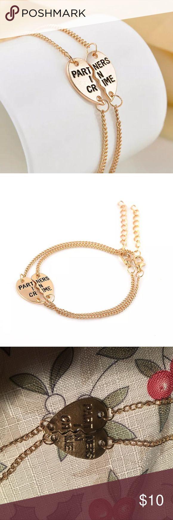 Partners in crime bracelets 2 pc bracelet set Gold plated Partners in crime best friend bracelets Half heart broken heart Jewelry Bracelets