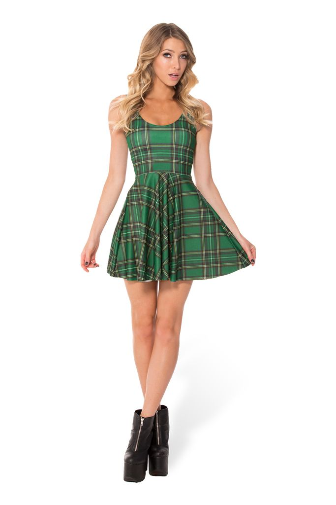 Tartan Green Scoop Skater Dress (WW $85AUD / US $80USD) by Black Milk Clothing