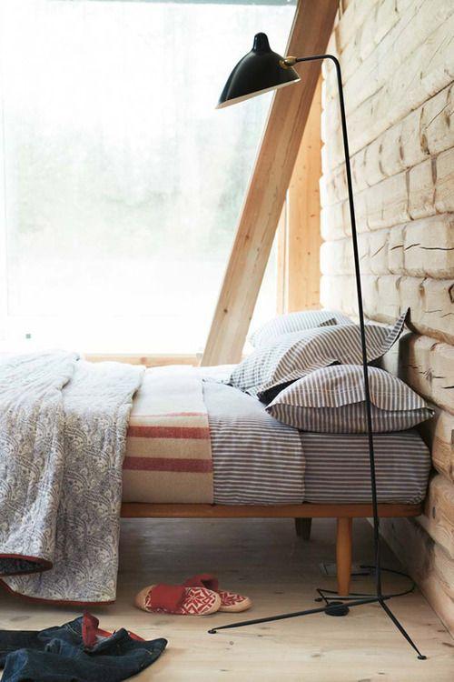 wood floor, stripes, brick wall, glass_wall  -★- #bedroom #brick_wall #wood_floor
