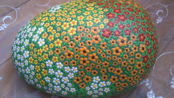 Dot painting stone large meadow of lovingly by AnkesSteinemalerei
