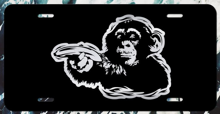 Banksy Monkey Vanity License Plate   Etched Aluminum   6-Inches By 12-Inches   Car Truck RV Trailer Wall Shop Man Cave