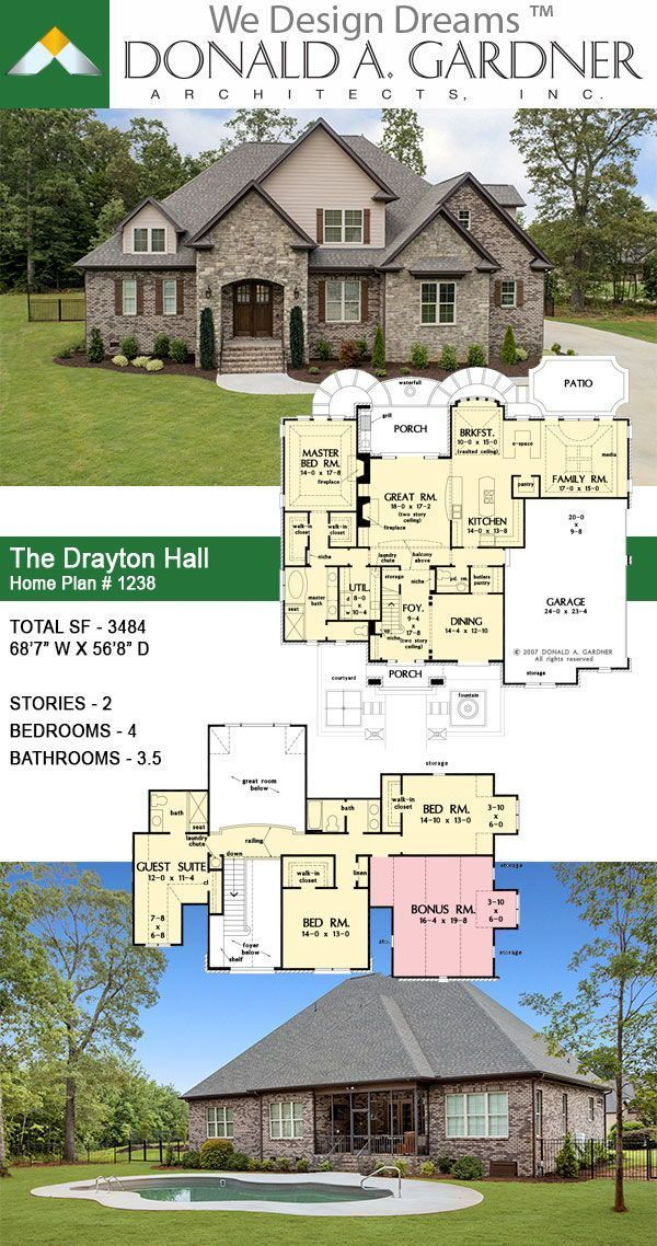 The Drayton Hall House Plan 1238 In 2020 House Plans Dream House Plans Hall House