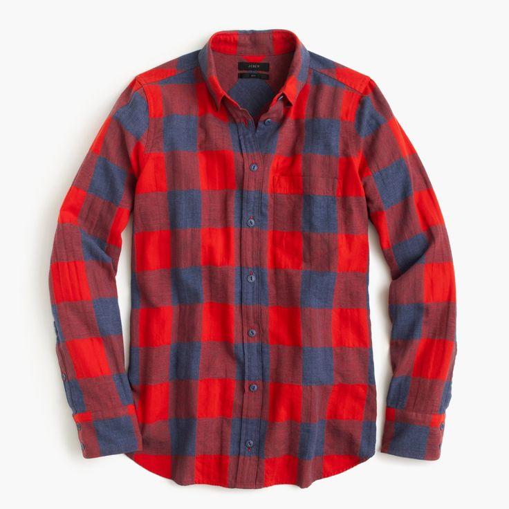 J.Crew Gift Guide: women's Boy shirt in fiery sunset buffalo check.