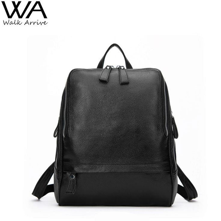 Walk Arrive Genuine Leather Women Backpack Cow Leather School Bag Fashion Travel Bag