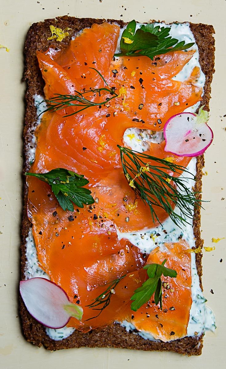 Snack on this open-faced smoked salmon sandwich.