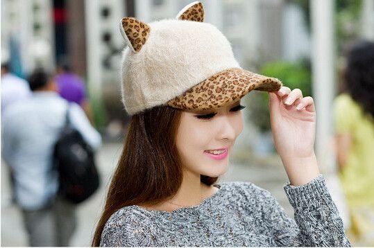 $59.15 (Buy here: https://alitems.com/g/1e8d114494ebda23ff8b16525dc3e8/?i=5&ulp=https%3A%2F%2Fwww.aliexpress.com%2Fitem%2F10pcs-2014-new-hot-sale-winter-women-s-baseball-cap-cat-ears-devil-leopard-print-rabbit%2F32237402876.html ) 10pcs  new hot sale winter women's baseball cap cat ears devil leopard print rabbit fur hat female lady warm winter cap for just $59.15
