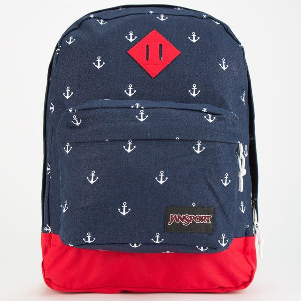 JanSport Super FX Backpack (€44) ❤ liked on Polyvore featuring bags, backpacks, navy moonshine anchors away, blue backpack, anchor backpack, jansport rucksack, polyester backpack and blue bag