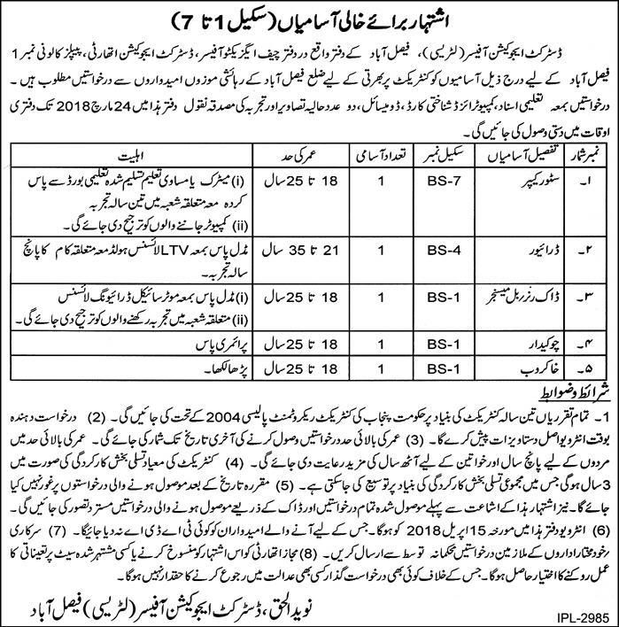District Education Office DEO Jobs 7th March 2018 Vacancies.