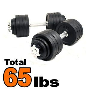 Pair 65 lbs Painted Cast Iron Adjustable Weight Dumbbells Set Kit 32 5LBSX2PCS | eBay