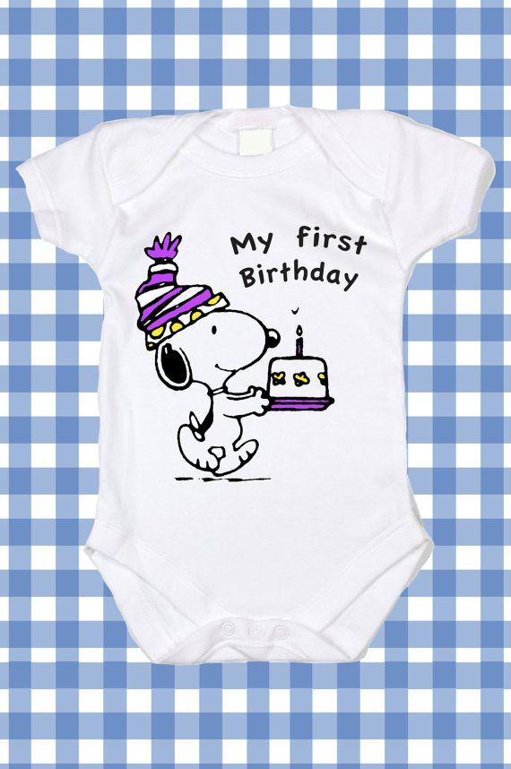 "NEW Custom Snoopy Birthday ""My first Birthday"" Screen Printed Tshirt Peanuts  T-Shirt Baby boy Bodysuit Creeper Romper Snapsuit ALL SIZES"