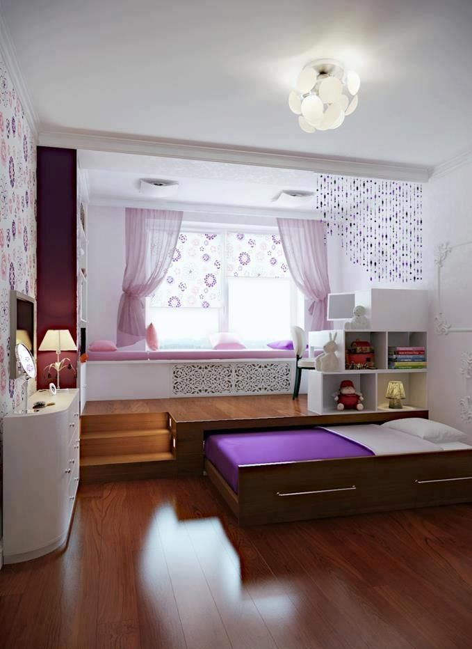Great space saving bedroom idea for the kid. Lofted desk area with lighted stairs and pull-out bed .