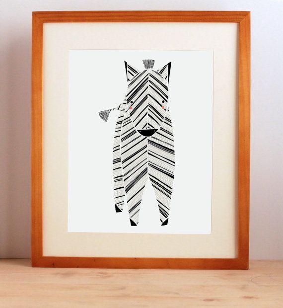 Zeek Zebra Illustration - Safari Collection, Nursery Art, Kids Wall Art