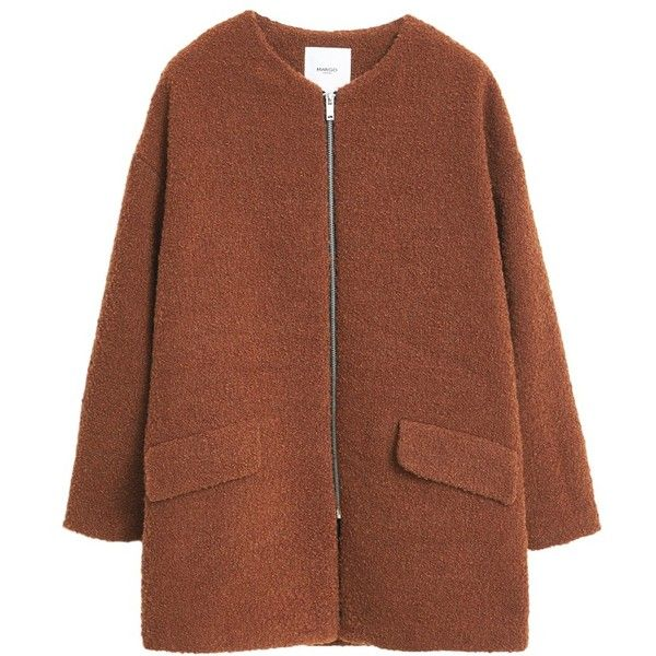 Mango Jacquard Coat, Medium Brown (365 BRL) ❤ liked on Polyvore featuring outerwear, coats, jackets, mango coat, long sleeve coat, short coat, brown coat and jacquard coat