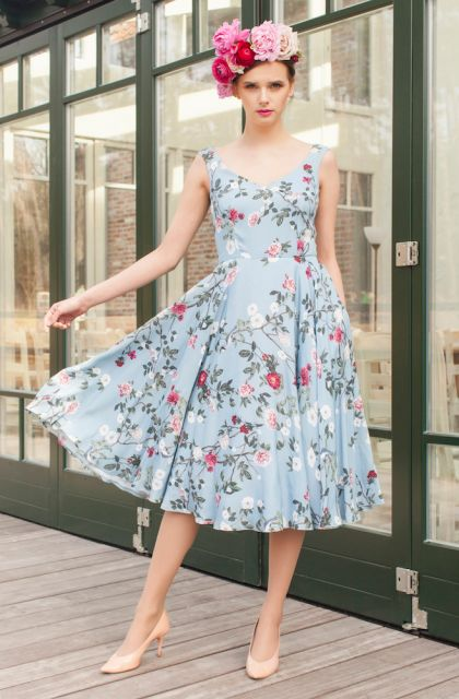 Midi floral dress: Forget-Me-Not