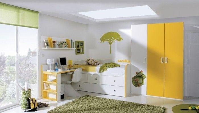 1-jolie-chmabre-enfant-tapis-vert-lit-avec-tiroirs-bureau-d-enfant-grande-fenetre
