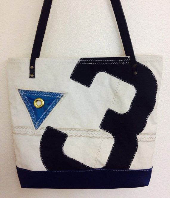 Recycled sail cloth tote reef point black by CalypsoReCreations