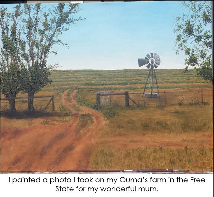 An oil painting of a farm in the Free State, South Africa. Corn fields in the background with clear blue skies, a 'windpomp', fence and trees. Typical scene in this region.