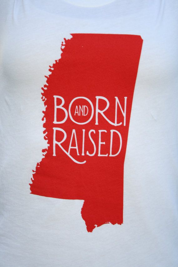 "LARGE Mississippi ""Born & Raised"" MS Ole Miss Shirt Cute Red American Apparel White Womens Tshirt for Women, $24.95"
