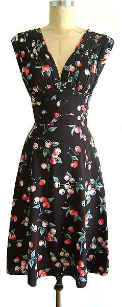1940's cherry print. get your swing on!