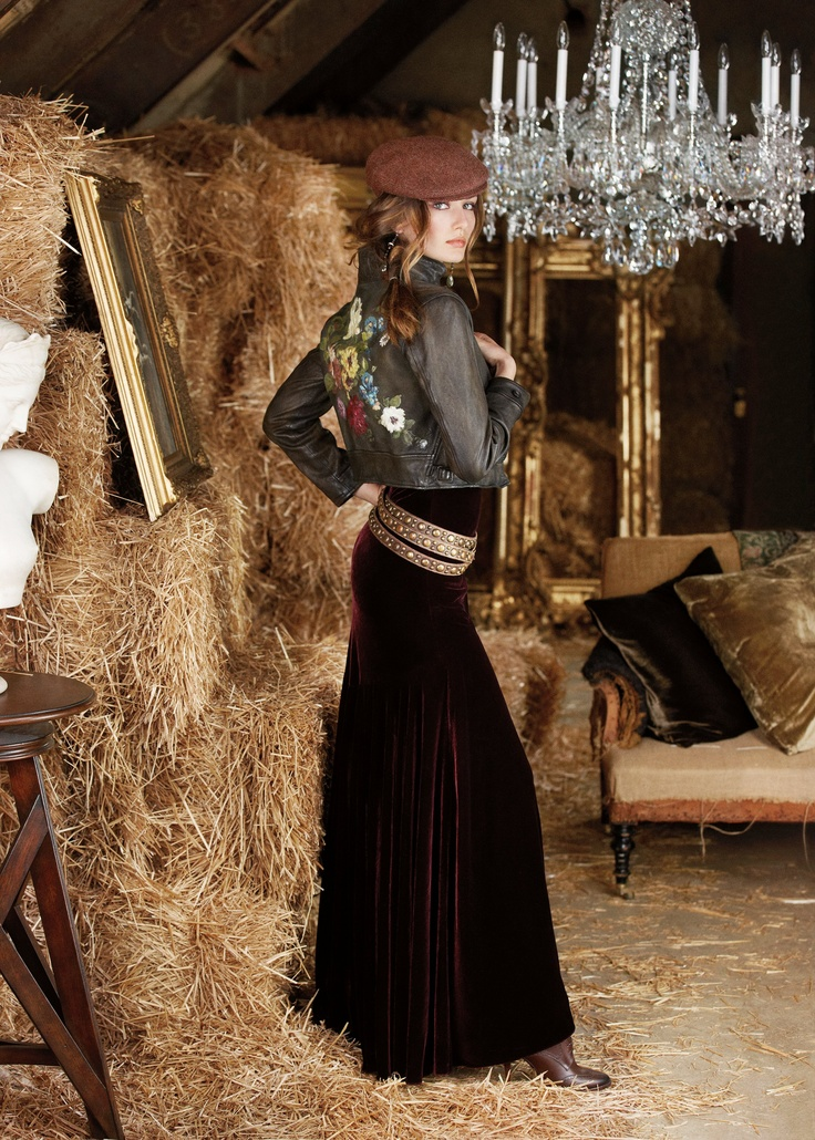 Ralph Lauren Blue Label Fall 2012-I like the idea of velvet and denim jacket. Perhaps a chambray top tucked would be a great substitute...