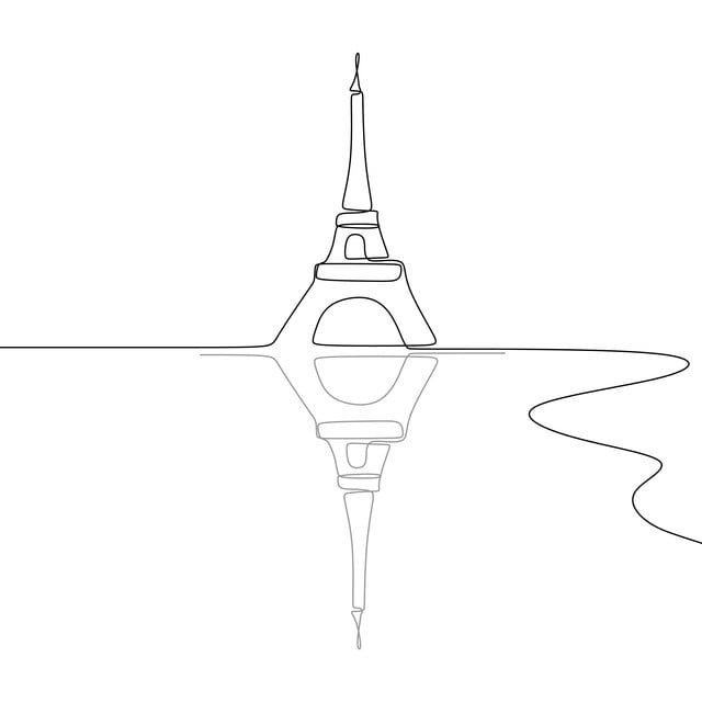 Eiffel Tower Black And White Single One Line Drawing Vector Illustration Construction France Drawing Png And Vector With Transparent Background For Free Down France Drawing Simple Line Drawings Line Art Drawings