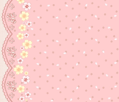 Sakura Bunnies - Pink! fabric by trirose on Spoonflower - custom fabric