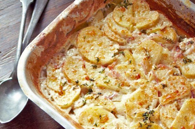 Jamie's Quick Mustard Chicken Potato Dauphinoise Meal