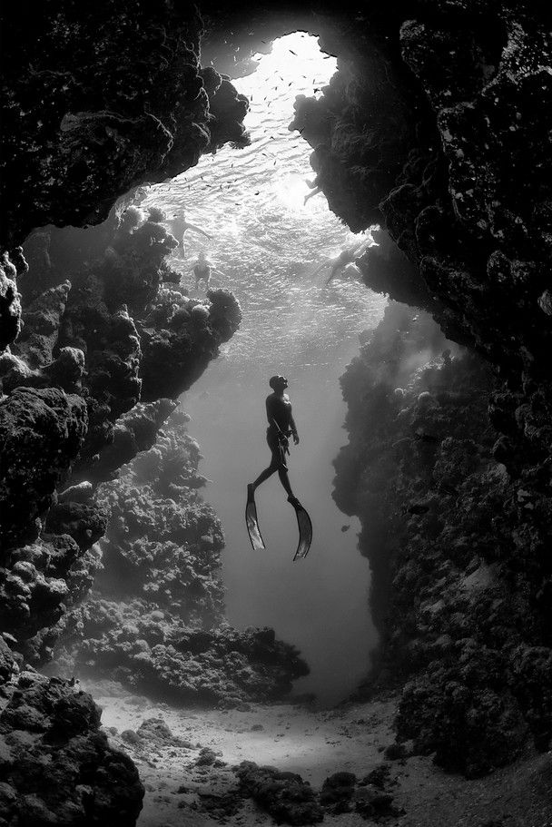 Record Italian freediver Linda Paganelli, ascending in front of one of the caves in the Ras Mohammed National Park just south of Sharm el-Sheikh.
