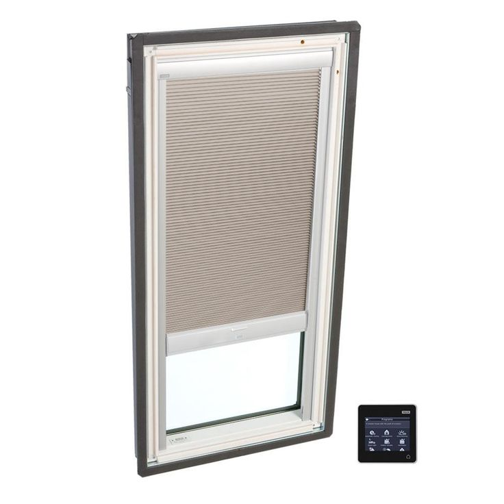 VELUX 44-1/4 in. x 26-7/8 in. Fixed Deck-Mount Skylight w/ Laminated Low-E3 Glass and Beige Solar Powered Room Darkening Blind