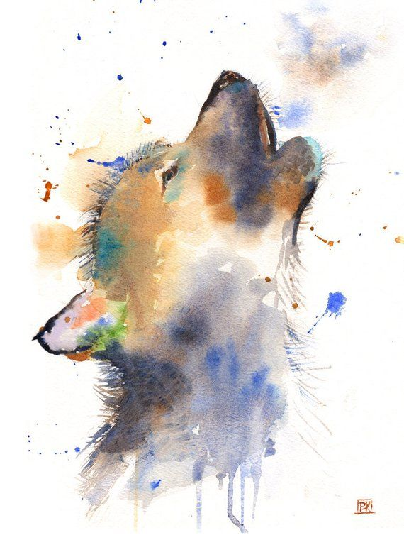 Honey Badger Abstract Watercolor Painting Art Print by Artist DJ Rogers