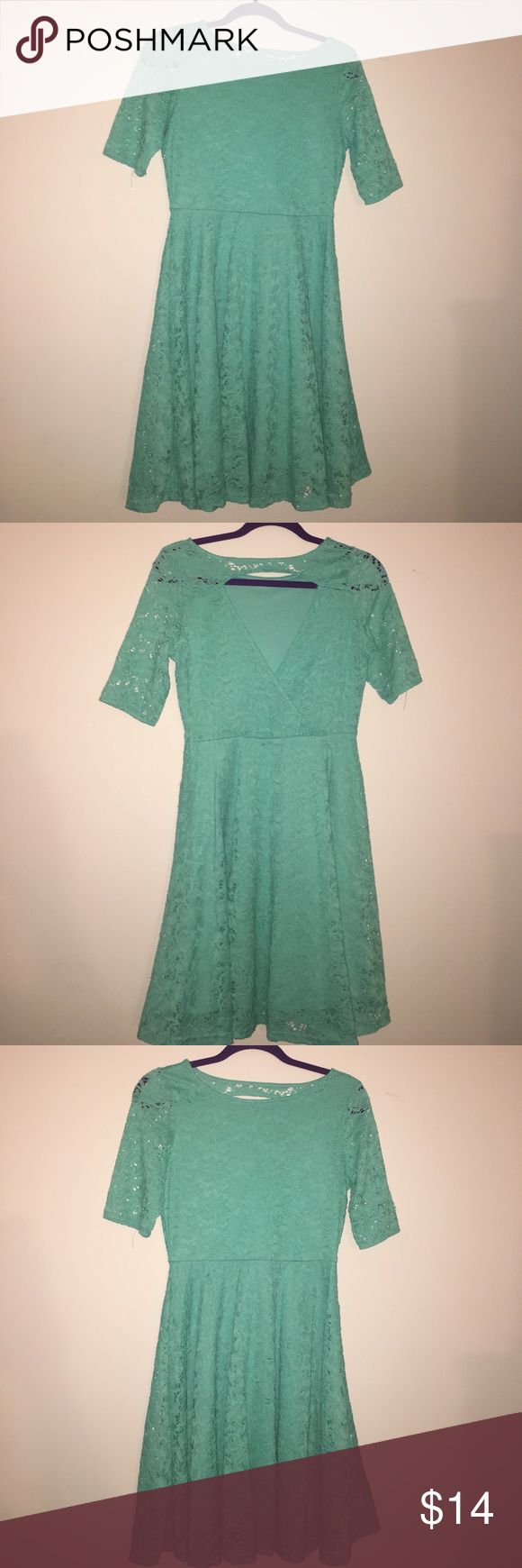 Such a lady!! Turquoise Lace Dress Turquoise Pleated Lace Dress with open back! Catch My I Dresses